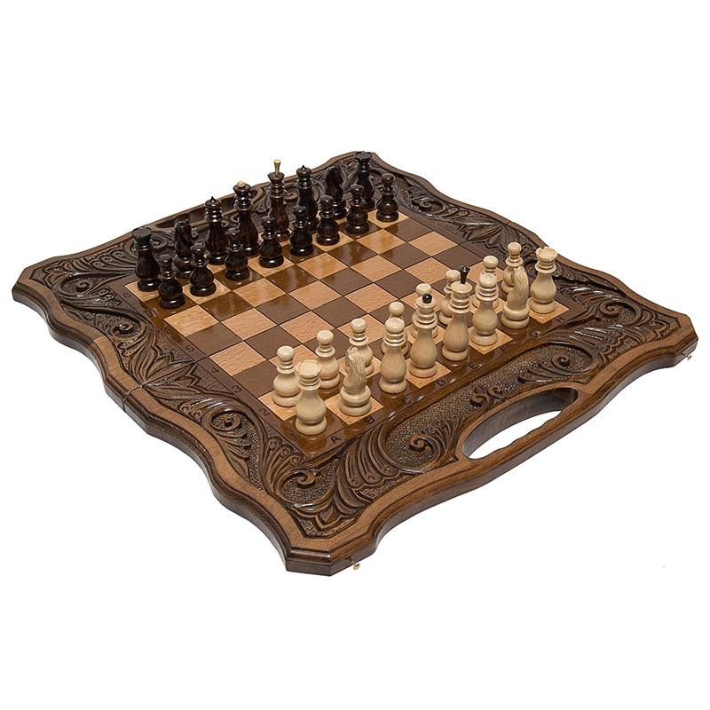 Купить Шахматы и нарды резные Haleyan Афинские 50, с ручкой,