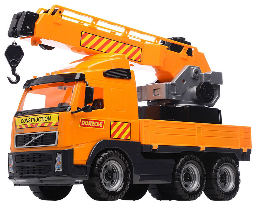 Купить Игрушка Volvo Автомобиль-кран Полесье с поворотной платформой, Машина спецслужбы Полесье Volvo Автомобиль-кран с поворотной платформой, Спецслужбы