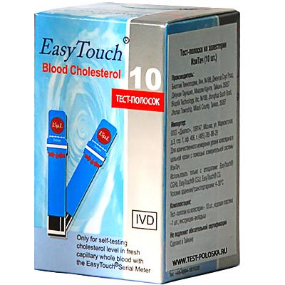 Купить Тест-полоски Easy Touch Cholesterol для контроля уровня холестерина 10 шт., Bioptik