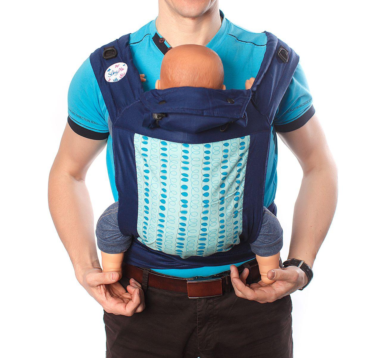 Купить Май-слинг, Май-слинг SlingMe Пружинки синий, Слинги для новорожденного