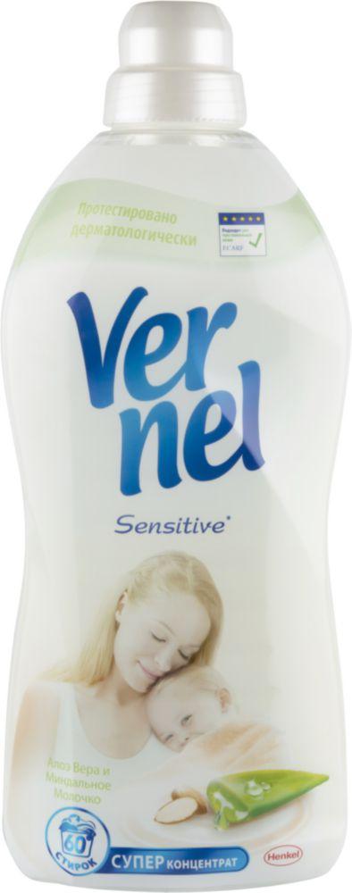 Ополаскиватель для белья Vernel sensitive алоэ вера и миндальное молочко 1.82 л