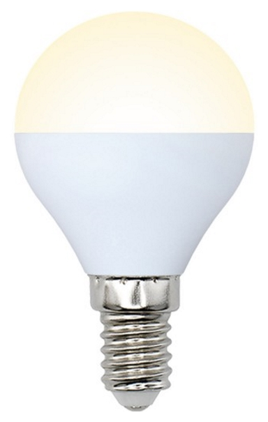 Лампа светодиодная (10217) E14 6W 3000K шар матовый LED-G45-6W/WW/E14/FR/O