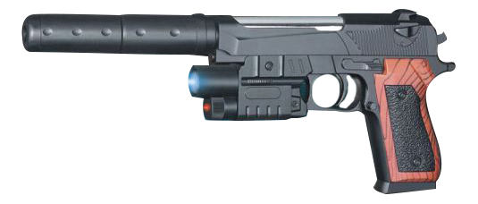 Пистолет 1B00099 с лазерным прицелом, фонарем, глушителем 21x14x4 см