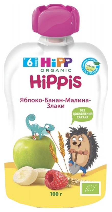 Купить Пюре фруктовое HiPP Яблоко, банан, малина, злаки с 6 мес. 100 г, Фруктовое пюре