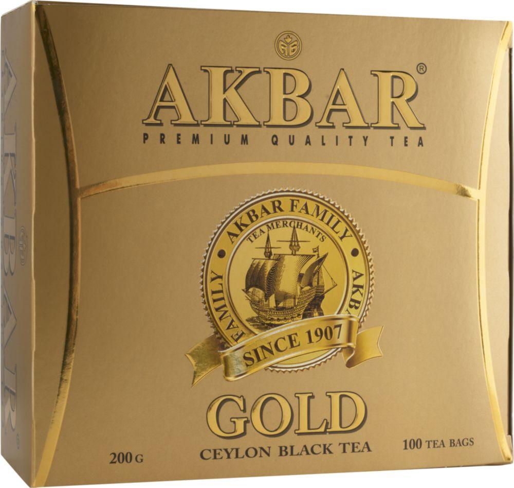 Чай черный Akbar gold цейлонский 100 пакетиков фото