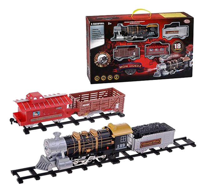Купить Мой поезд, Железная дорога мой поезд свет звук дым 18 предметов Play Smart 660, PLAYSMART, Детские железные дороги