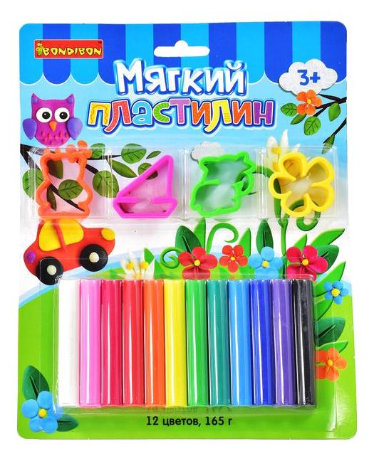 Набор для лепки Мягкий пластилин с формочками 12 цветов Bondibon ВВ1810