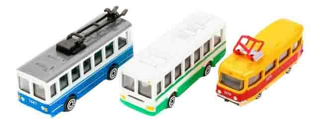 Купить 3 шт. городской транспорт, Набор из 3 х машин Городской транспорт 1:72 Технопарк, Наборы игрушечного транспорта