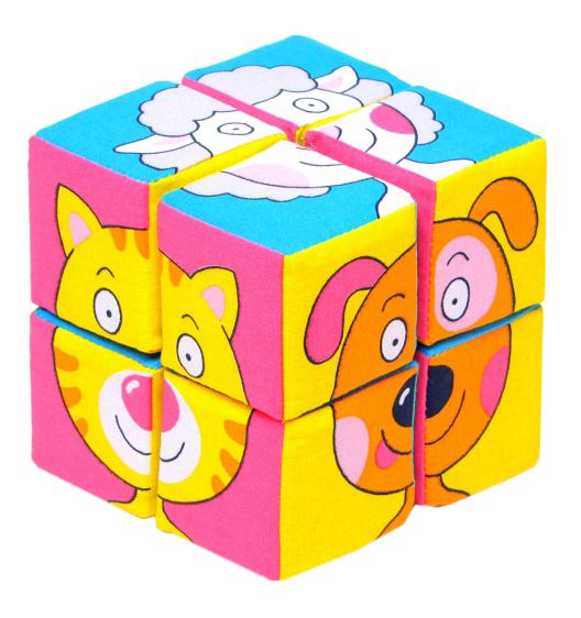 Купить Кубики мягкие Зверята 8 шт. Собери картинку Мякиши Р78132, Развивающие кубики