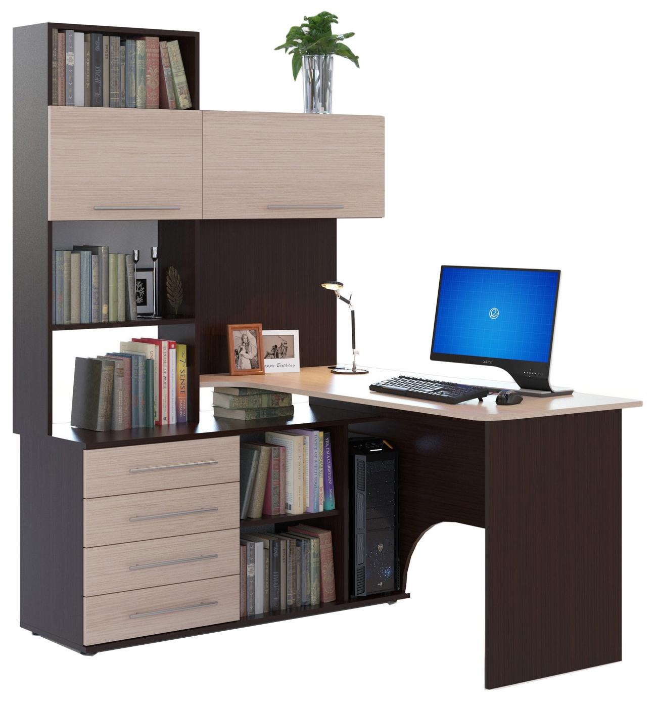 Компьютерный стол СОКОЛ КСТ-14П 140x123,5x182,8, венге/беленый дуб