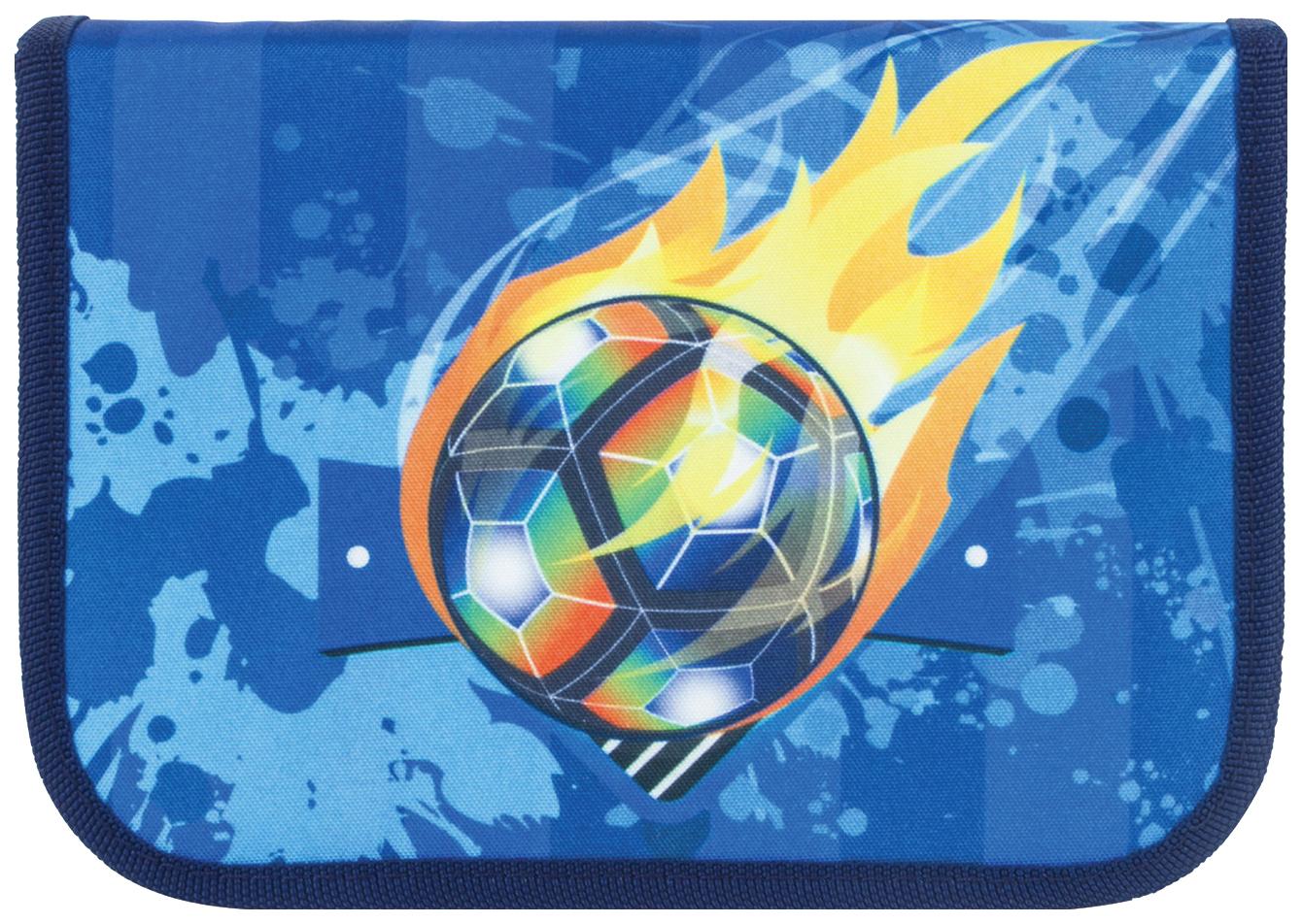 Пенал Tiger Family Футбольный мяч 1 отделение, Оранжевый/Желтый/Голубой/Синий...