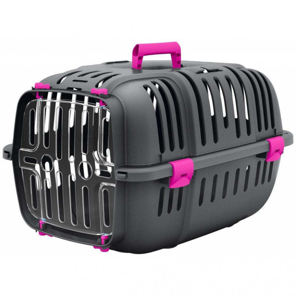 Переноска Ferplast JET 10 для кошек и собак (47 х 32 х 29 см, Серый с розовым)