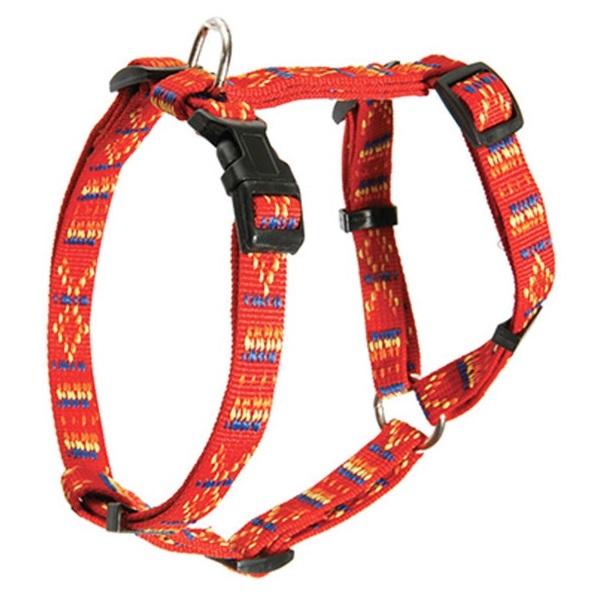 Шлейка Каскад Орнамент регулируемая нейлон красная для собак (20 мм (35/50 см), Красный)