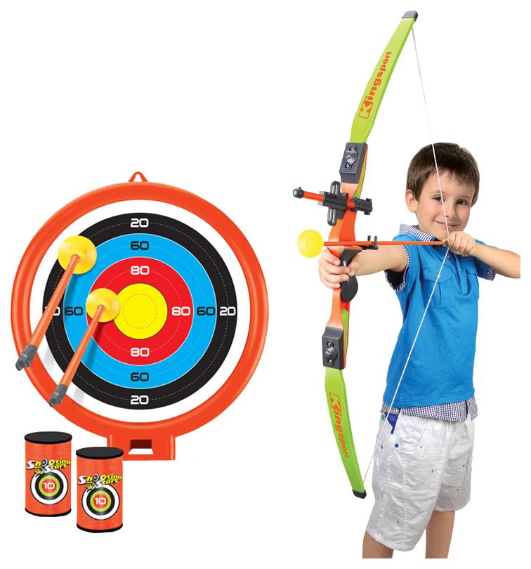 Лук со стрелами на присосках, в наборе 3 стрелы, мишень и 2 банки