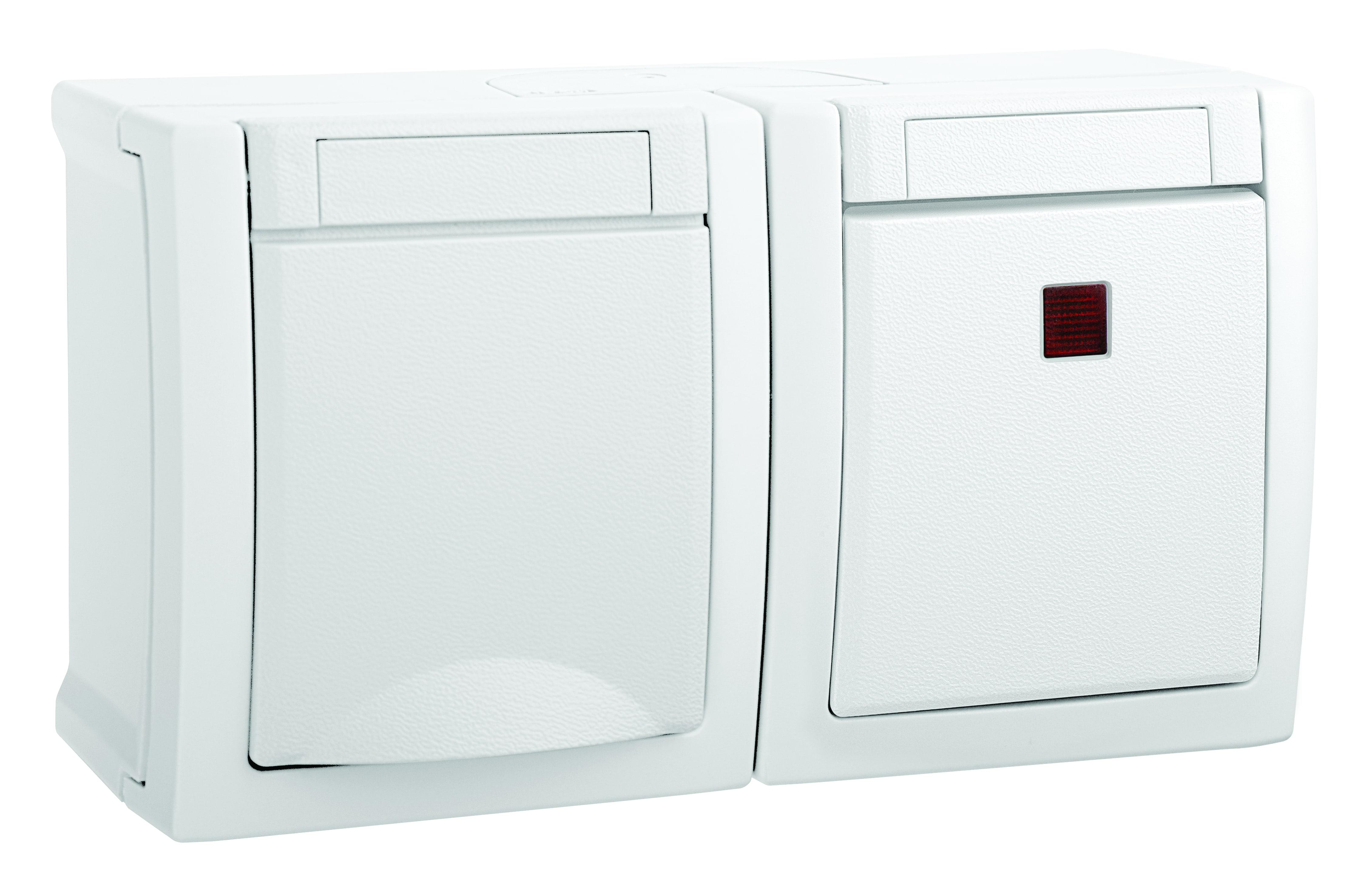 Блок (Выключатель 1кл свет + Розетка с/з с крышкой) горизонтальный белый PACIFIC
