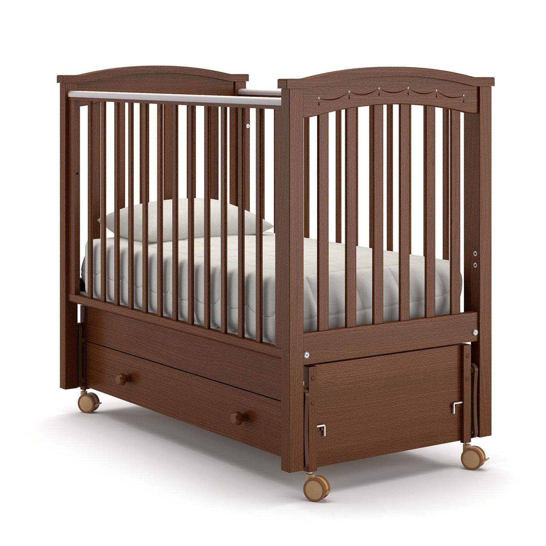 Купить Детская кровать Nuovita Perla solo swing, темный орех, Классические кроватки