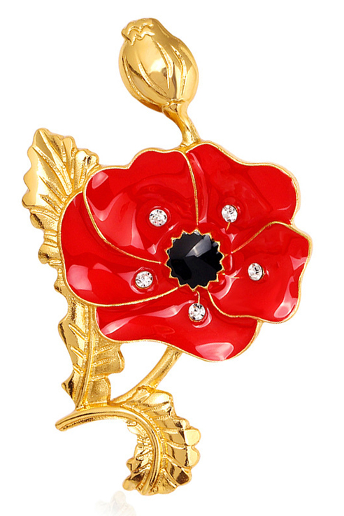 Брошь женская ViviTrend Цветок 52240 красная фото
