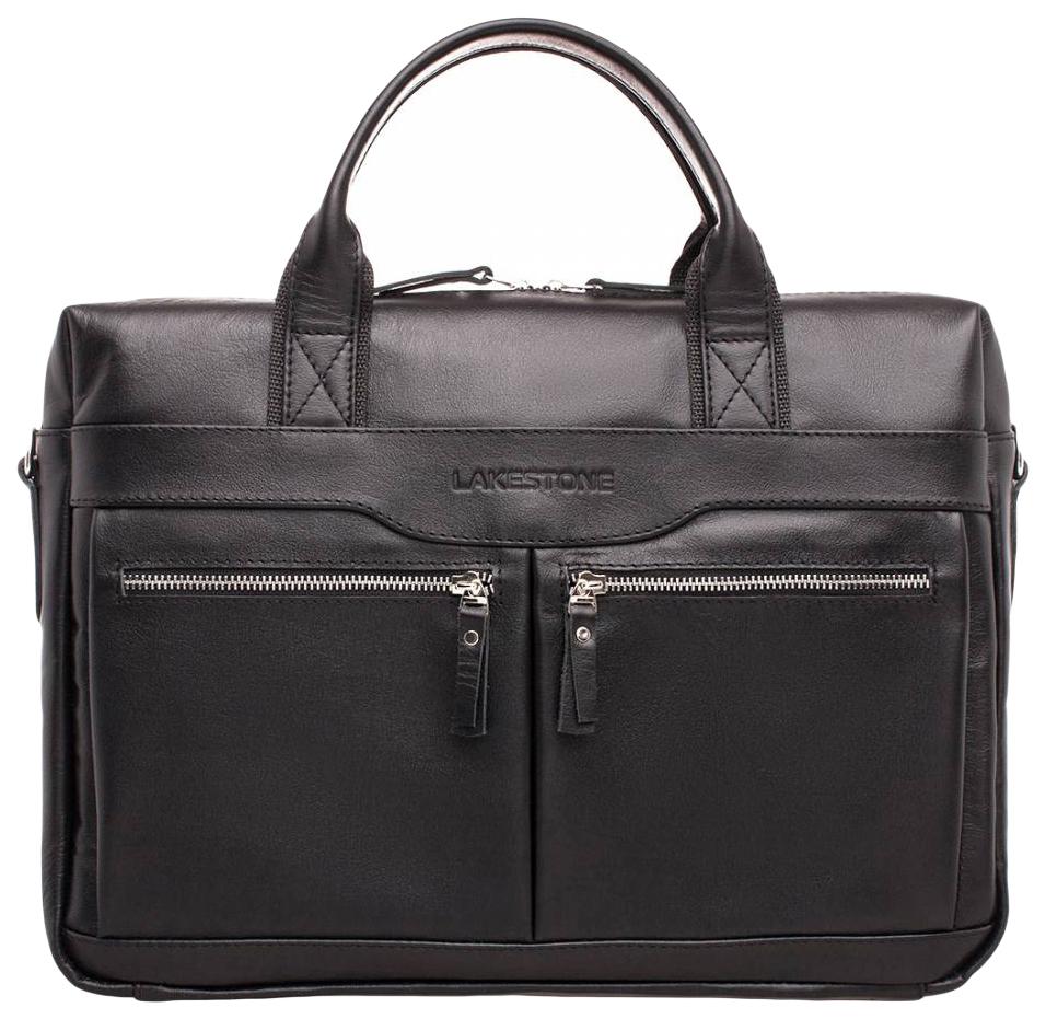 Портфель мужской кожаный Lakestone Dorset черный фото
