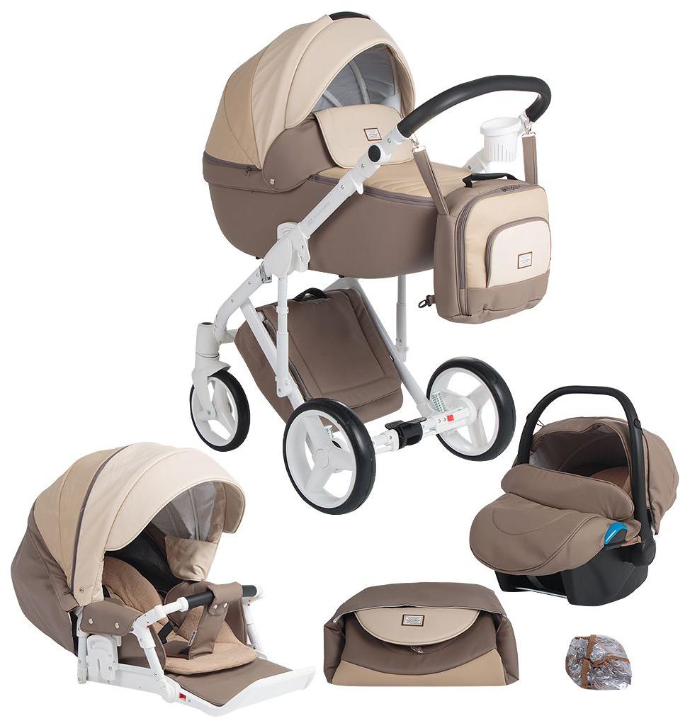 Купить Коляска 3 в 1 ADAMEX q265 luciano deluxe 3 в 1 беж+мокко+коричневый, кожа, Детские коляски 3 в 1