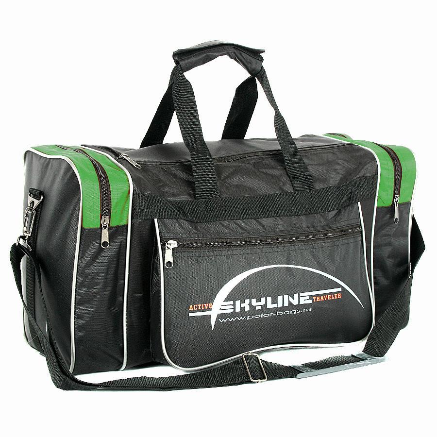 Спортивная сумка Polar Джонсон Нейлон 6009с черно-зеленая
