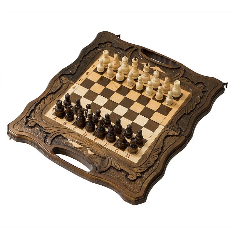 Шахматы резные Haleyan, с Араратом, ручкой и ложементом 40,  - купить со скидкой