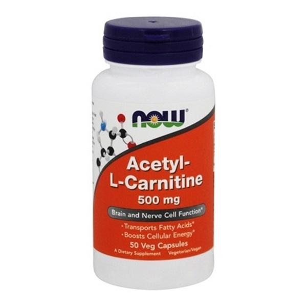 Купить Ацетил-L-карнитин 500 мг, Ацетил-L-карнитин NOW 500 мг 50 капсул