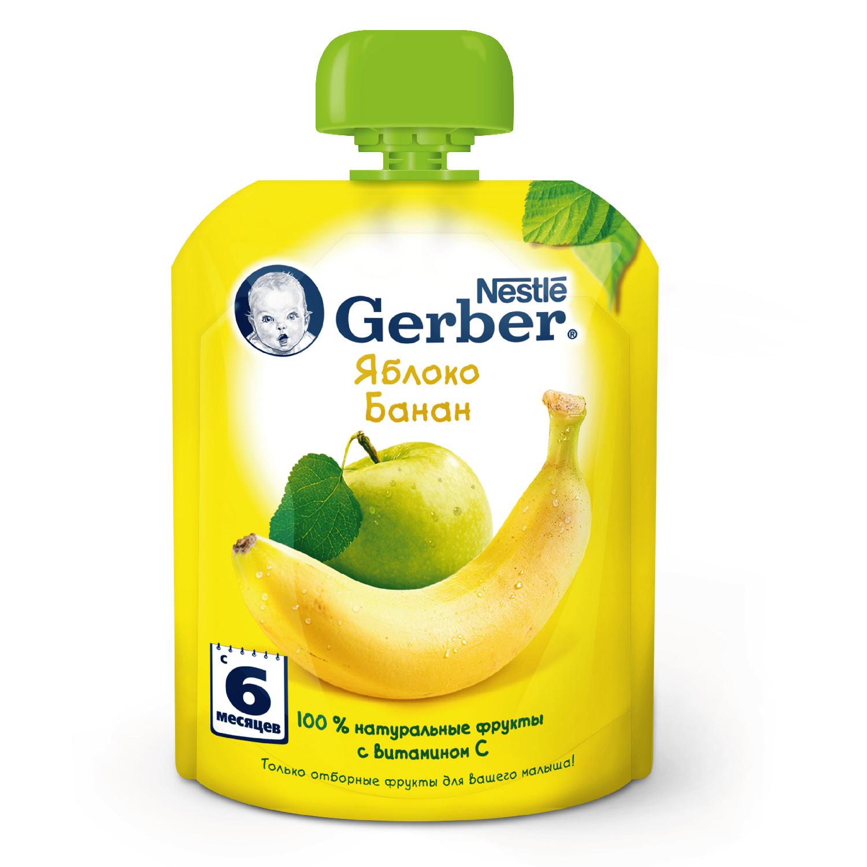 Купить Яблоко и банан 90 г, Пюре фруктовое Gerber Яблоко и банан с 6 мес 90 гр, Детское пюре