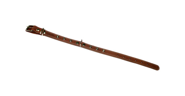 Ошейник для собак Аркон, кожаный с шипами, коньячный, 40-54 см x 25 мм фото