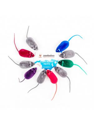 Игрушка для кошек Zoobaloo Бархатные мыши с пищалкой,