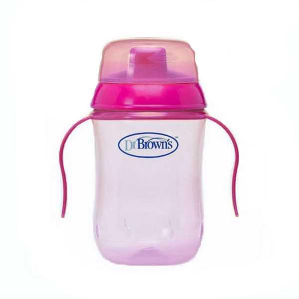 Купить Чашка-поильник Dr.Brown's с жестким носиком розовый 270 мл, Dr. Brown's, Поильники