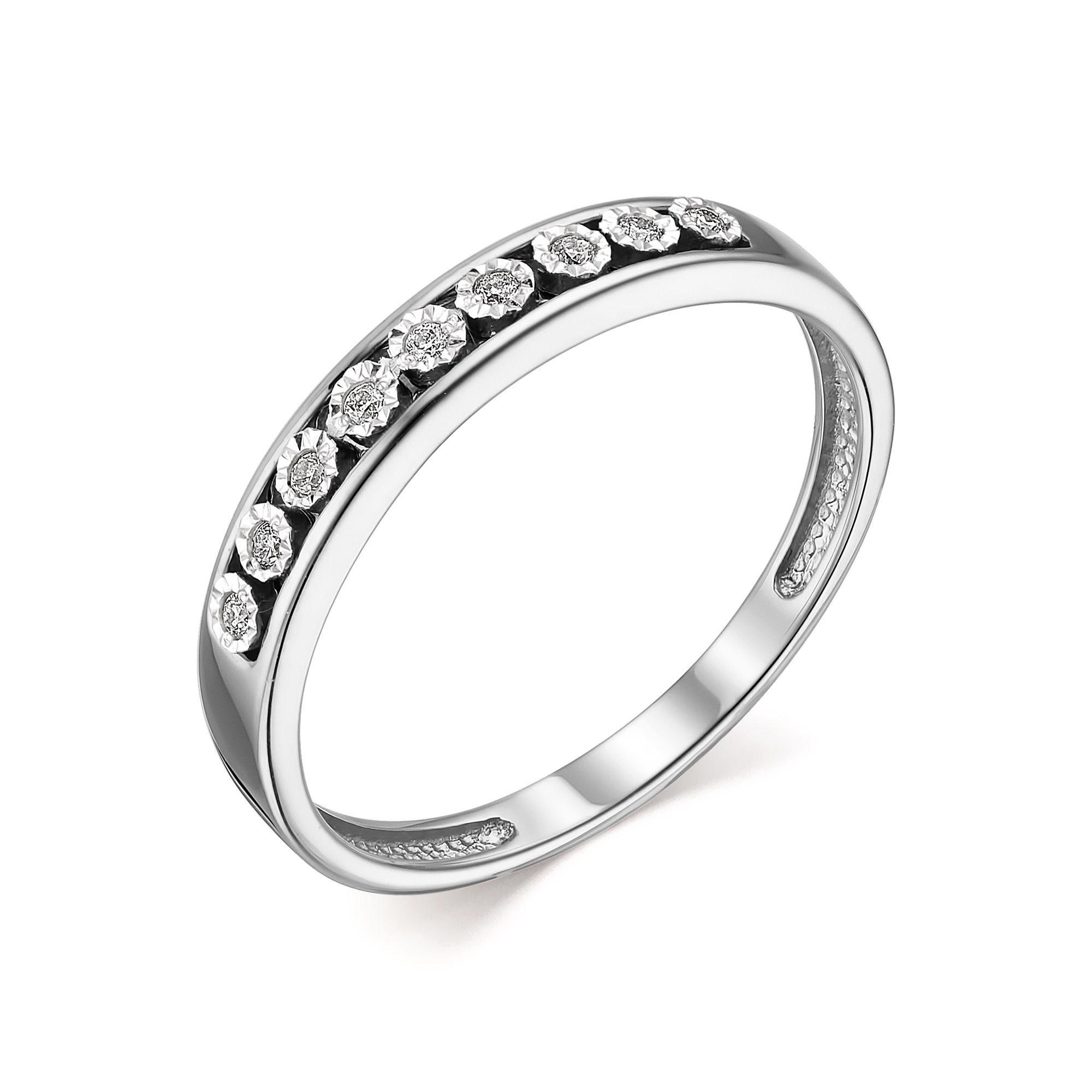 Кольцо женское АЛЬКОР 13747-200 из золота, бриллиант, р. 16.5