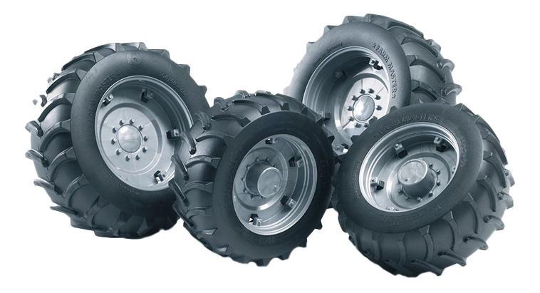 Шины Bruder для сдвоенных колёс с серебр. дисками 4 шт. 10,4 см фото
