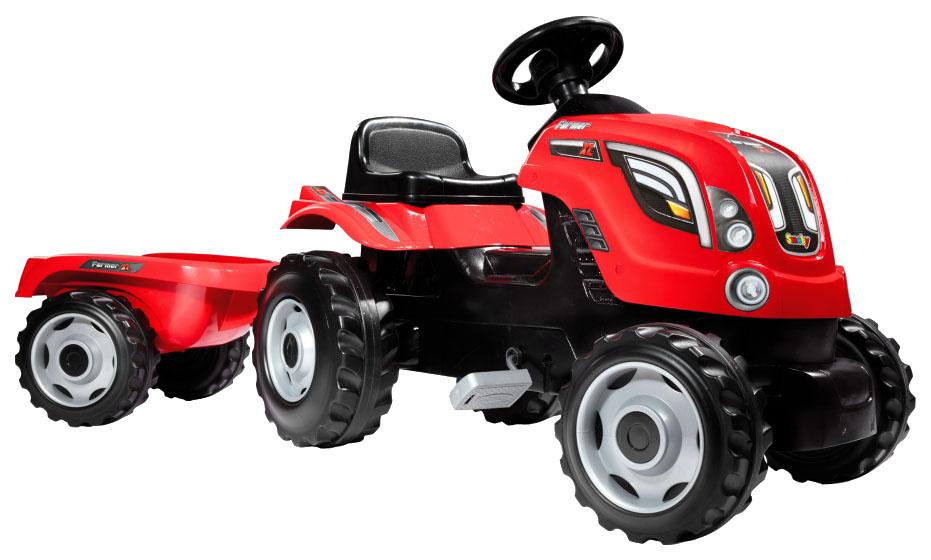 картинка Каталка детская Smoby трактор педальный Red Farmer XL с прицепом красный от магазина Bebikam.ru