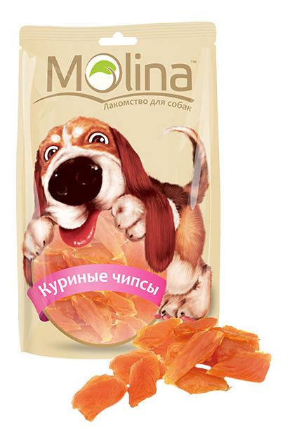 Лакомство для собак Molina Куриные чипсы, 80г