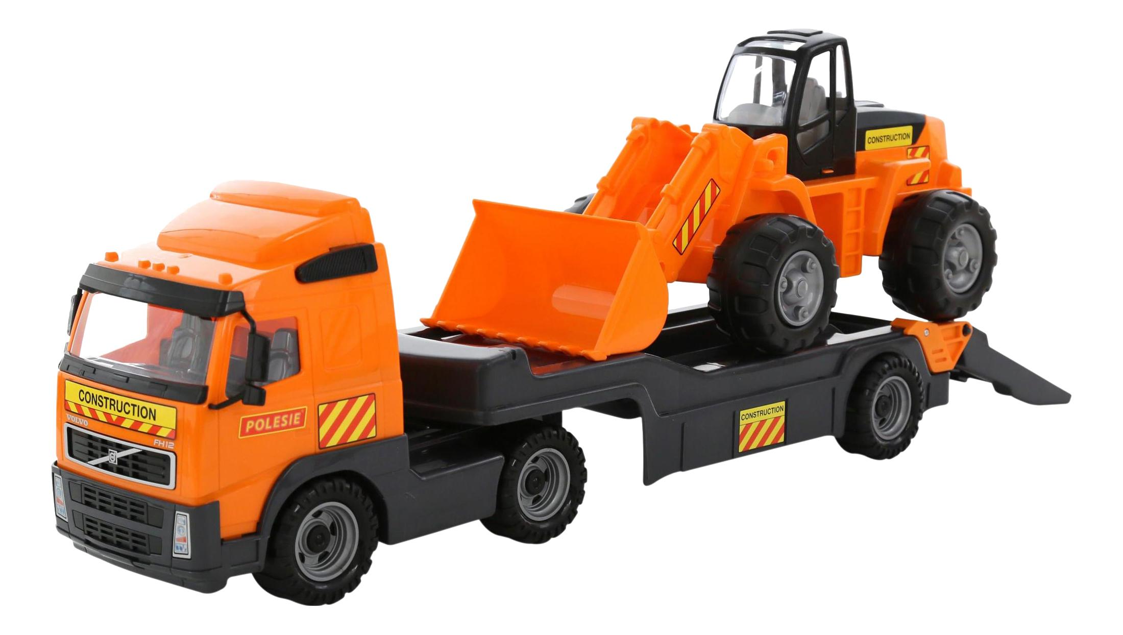 Купить Автомобиль-трейлер + трактор-погрузчик Volvo, Набор машин строительной техники Полесье Volvo, Строительная техника