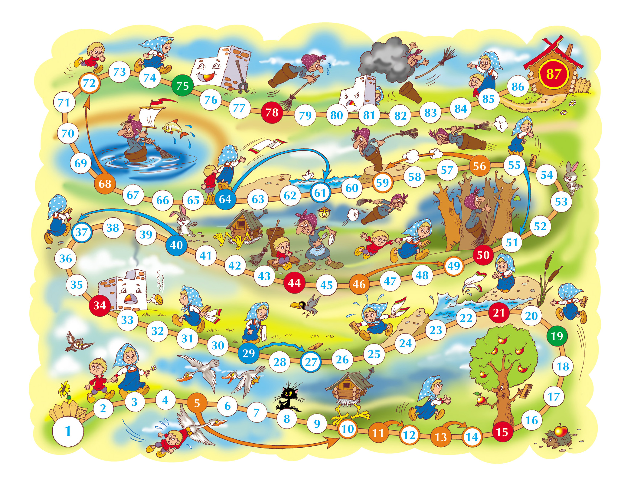 Купить Настольная игра 2 в 1 Гуси-лебеди Баба Яга Тридевятое царство, Семейные настольные игры