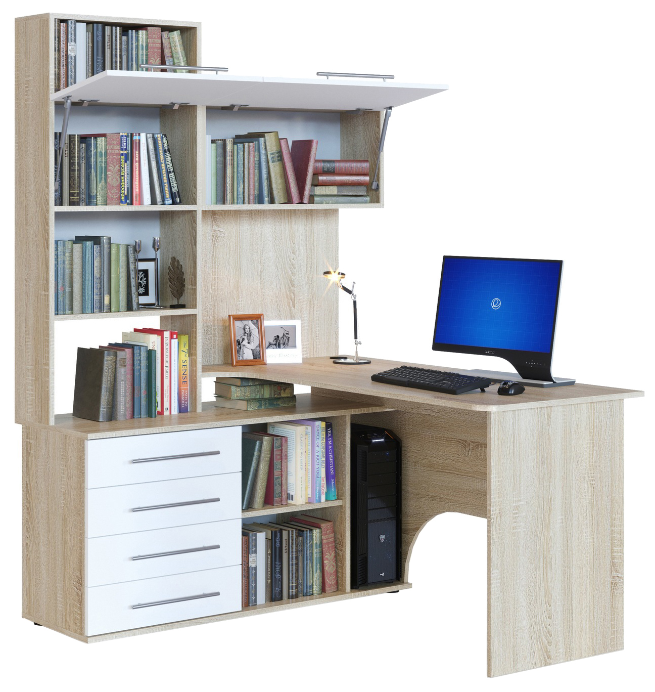 Компьютерный стол СОКОЛ КСТ-14П 140x123,5x182,8, дуб сонома/белый