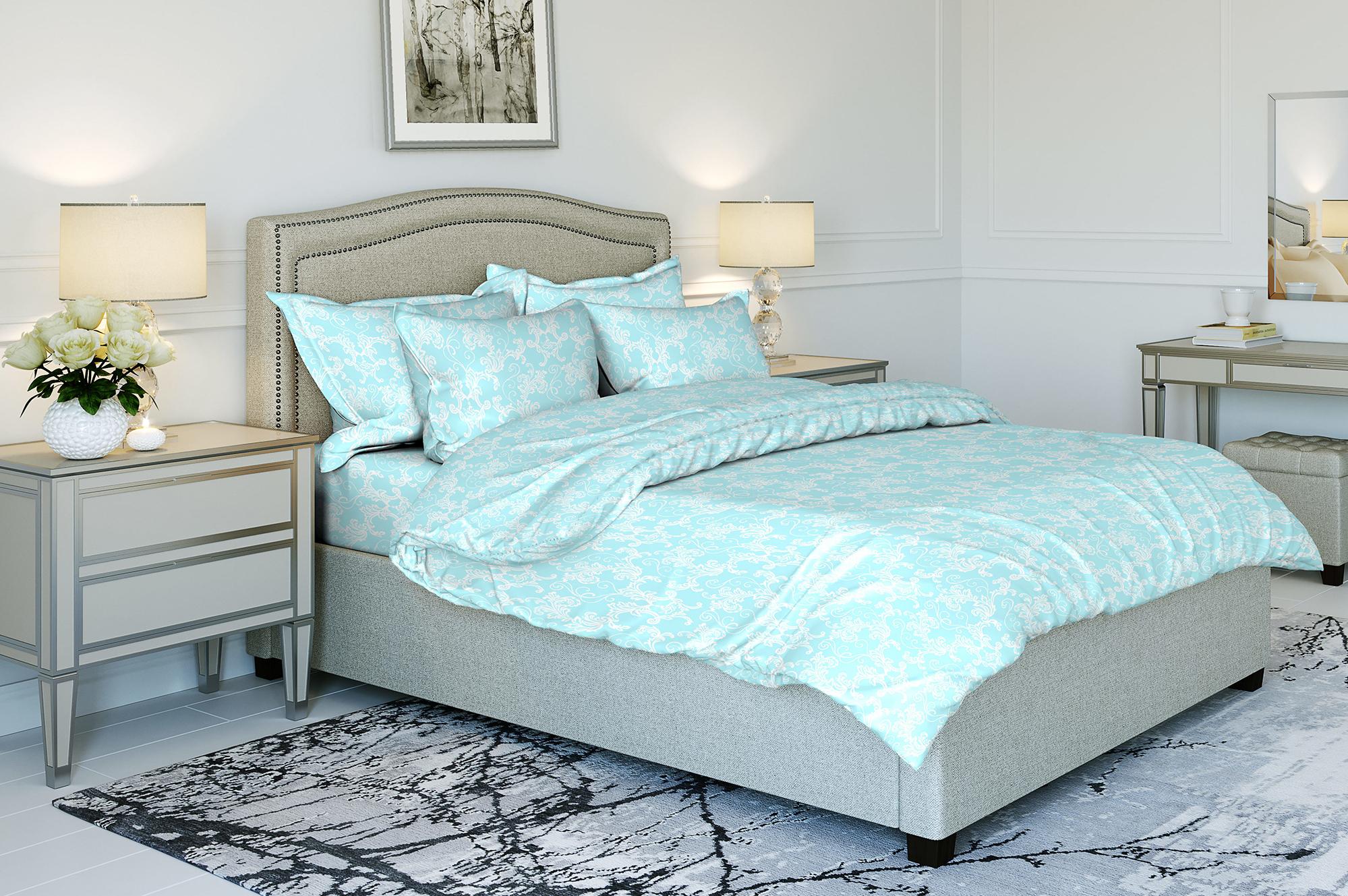 Комплект постельного белья Ночь нежна Ampir Цвет: Небесно-Голубой (1,5 спал.)
