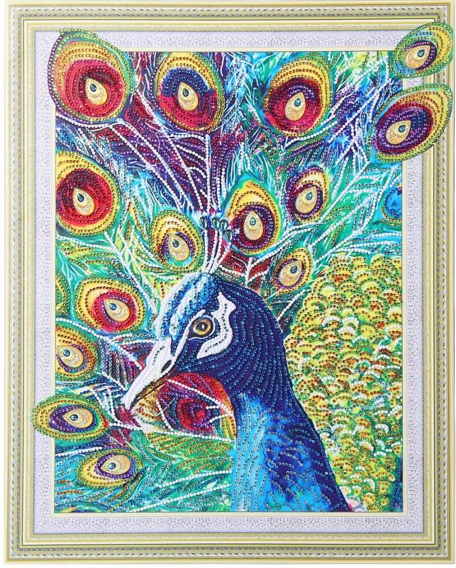 Волшебный павлин-алмазная картина с фигурными стразами
