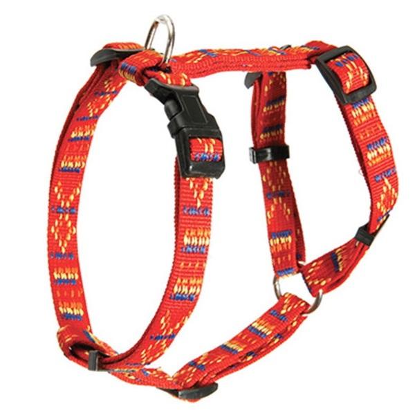Шлейка Каскад Орнамент регулируемая нейлон красная для собак (25 мм (45/60 см), Красный)