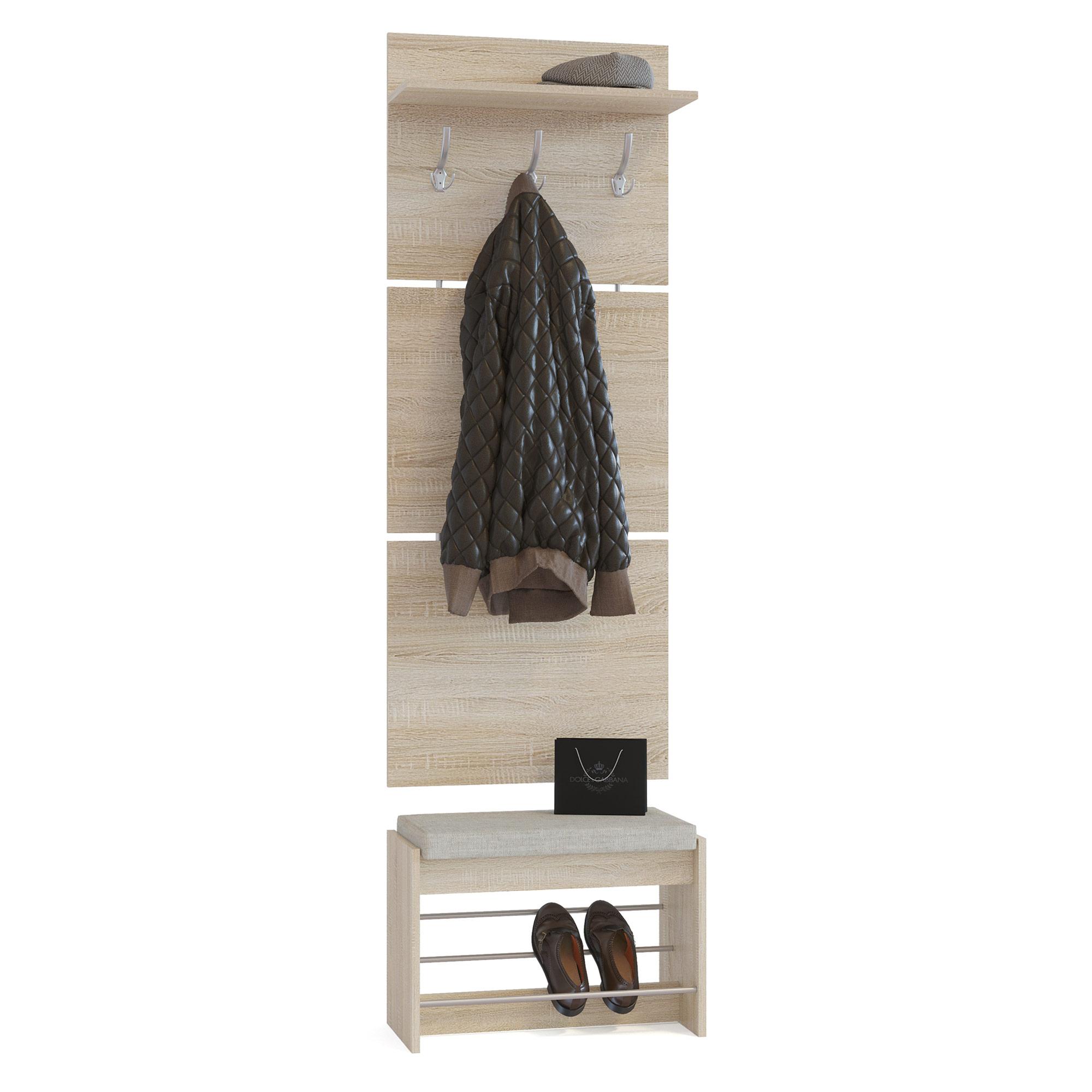 Вешалка с тумбой мягкое сиденье Сокол ВШ-5.1+ТП-5 дуб сонома/белый, 60х28х209 см. (Груно) фото