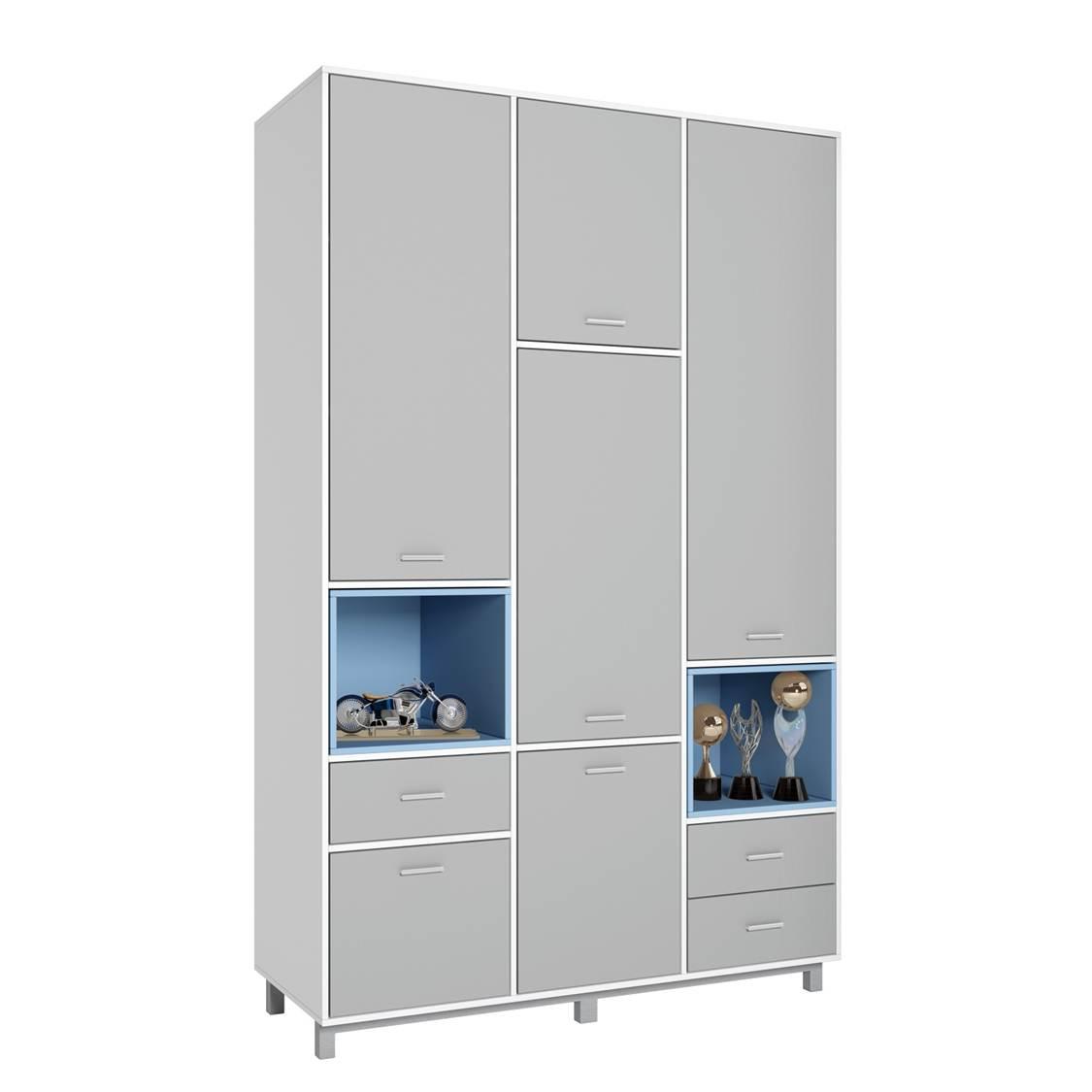 Купить Детский шкаф трехсекционный Polini kids Mirum 2335 белый-серый/голубой, Шкафы в детскую комнату