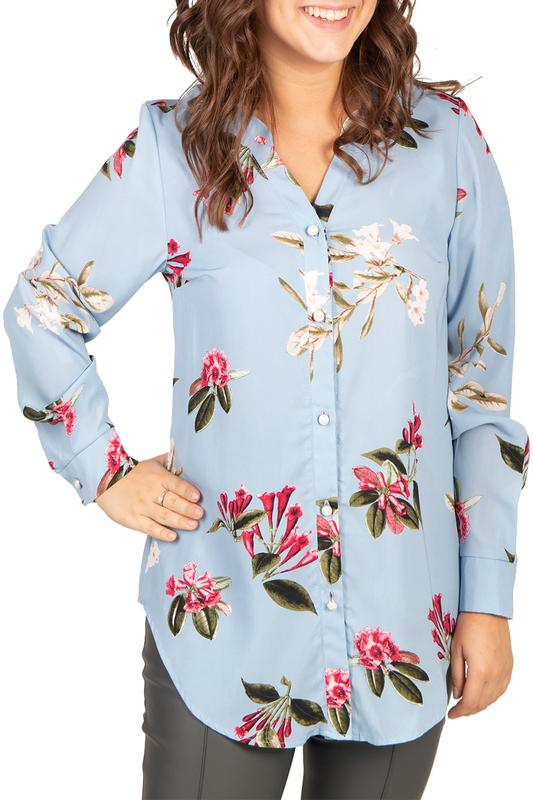Рубашка женская BELUCHI КАМЕЛИЯ_Рубашка/голубая голубая 56 RU фото