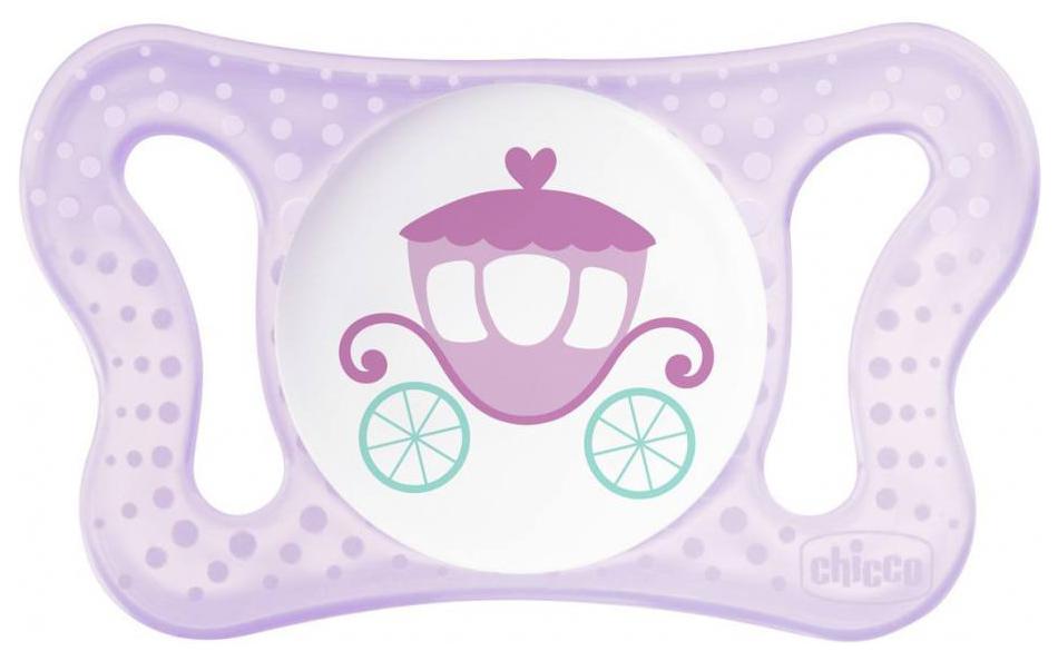 Пустышка силиконовая Chicco Micro Physio для принцессы 0-2 мес Карета/Нейтральная, 2 шт