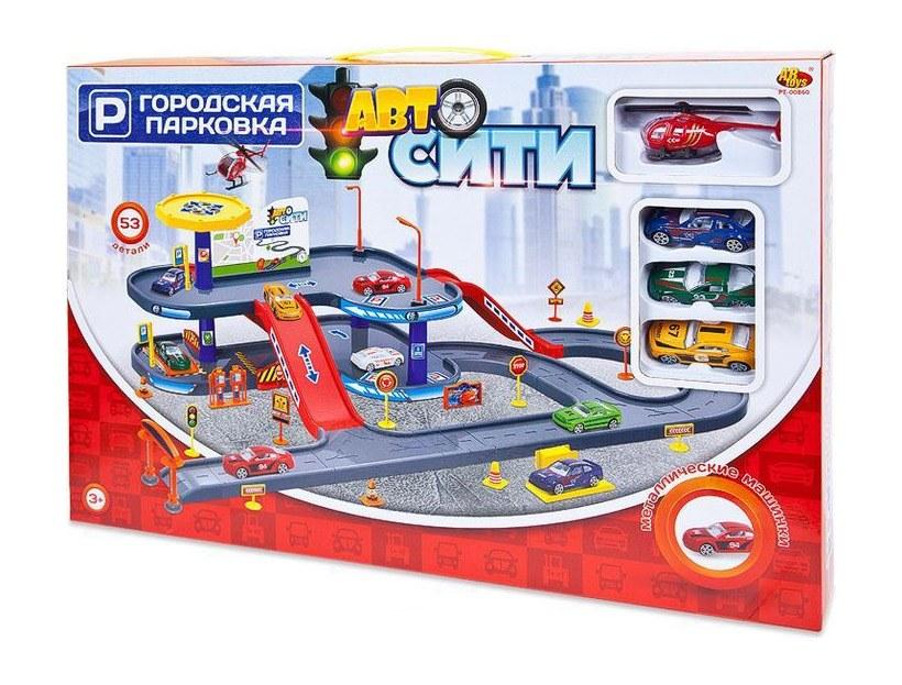 Купить Парковка АвтоСити, 2-х уровневая, 53 детали PT-00860 ABtoys, Детские автотреки