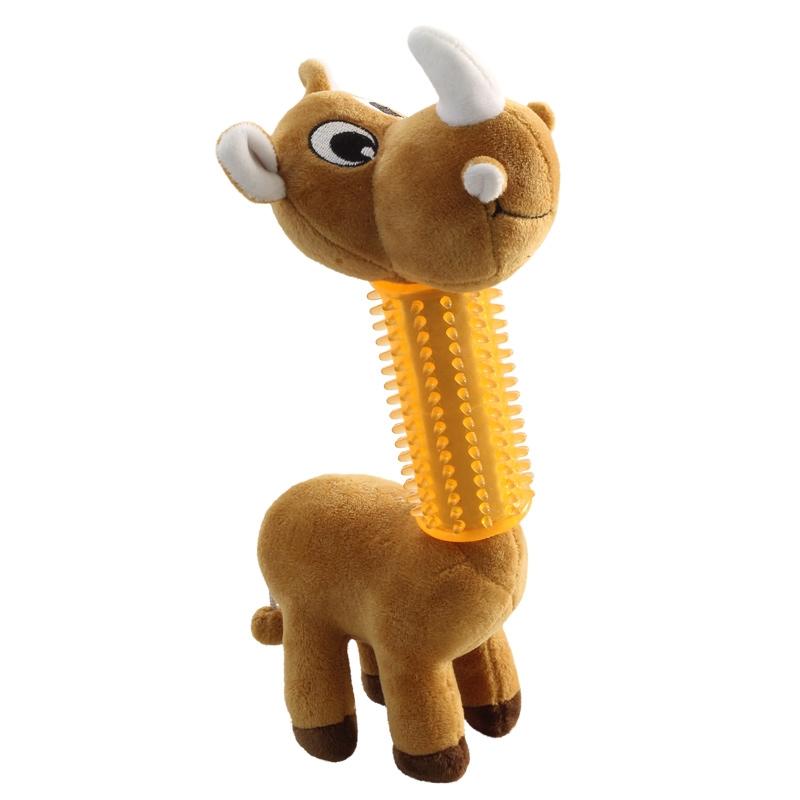 Мягкая игрушка для собак Triol Носорог в броне, коричневый, 29 см