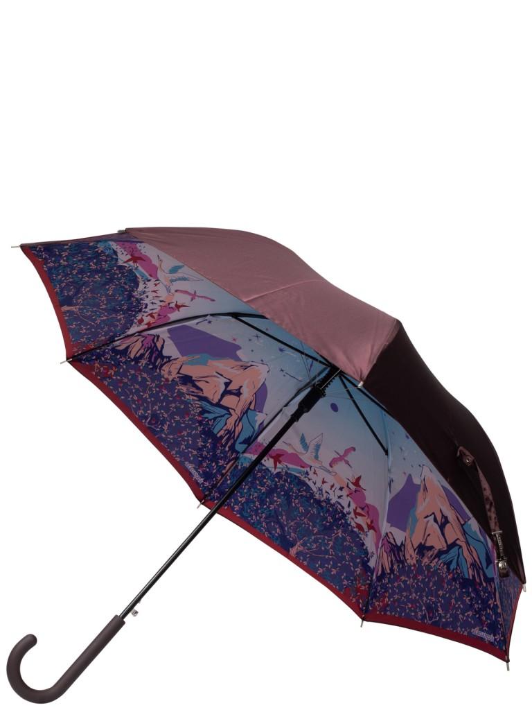 Зонт-трость женский автоматический Eleganzza 01-00029217 коричневый/разноцветный