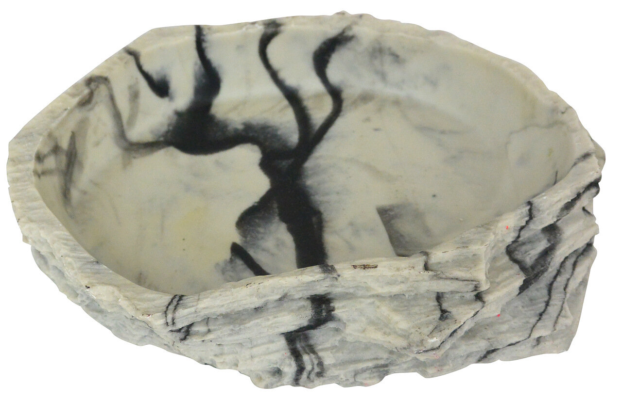 Кормушка-поилка для рептилий LUCKY REPTILE Granite, серая, 23 х 20 х 5 см