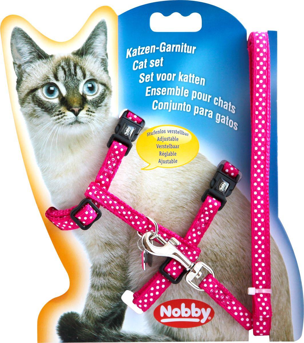 Шлейка для кошек NOBBY Горошек розовая