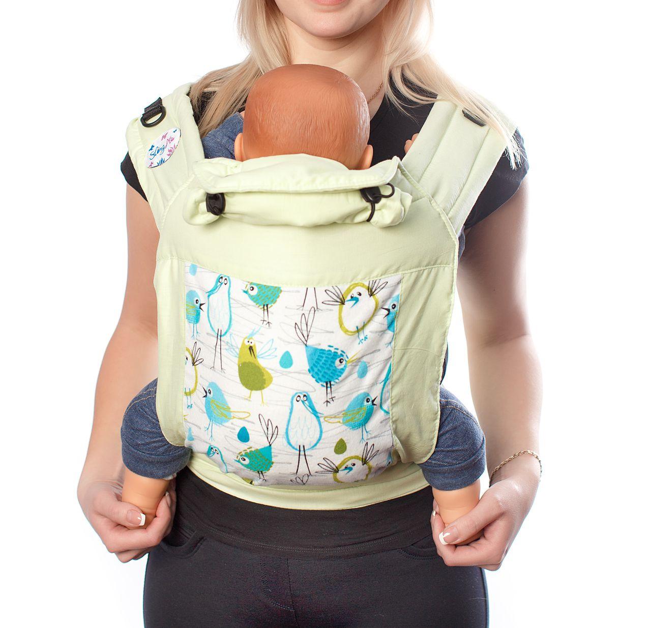 Купить Май-слинг, Май-слинг SlingMe Птички зеленый, Слинги для новорожденного